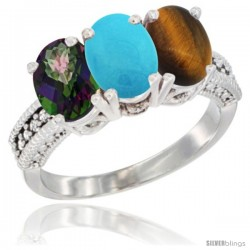 14K White Gold Natural Mystic Topaz, Turquoise & Tiger Eye Ring 3-Stone 7x5 mm Oval Diamond Accent