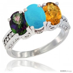 14K White Gold Natural Mystic Topaz, Turquoise & Whisky Quartz Ring 3-Stone 7x5 mm Oval Diamond Accent