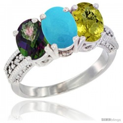 14K White Gold Natural Mystic Topaz, Turquoise & Lemon Quartz Ring 3-Stone 7x5 mm Oval Diamond Accent