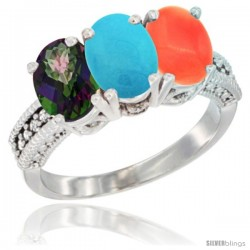 14K White Gold Natural Mystic Topaz, Turquoise & Coral Ring 3-Stone 7x5 mm Oval Diamond Accent
