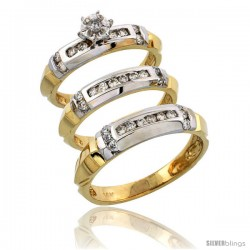 14k Gold 3-Piece Trio His (5mm) & Hers (4mm) Diamond Wedding Band Set w/ Rhodium Accent, w/ 0.63 Carat Brilliant Cut Diamonds