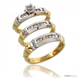 14k Gold 3-Piece Trio His (5mm) & Hers (4mm) Diamond Wedding Band Set w/ Rhodium Accent, w/ 0.63 Carat Brilliant Cut Diamonds