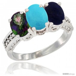 14K White Gold Natural Mystic Topaz, Turquoise & Lapis Ring 3-Stone 7x5 mm Oval Diamond Accent