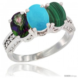 14K White Gold Natural Mystic Topaz, Turquoise & Malachite Ring 3-Stone 7x5 mm Oval Diamond Accent
