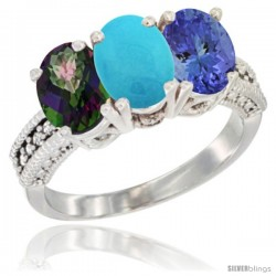 14K White Gold Natural Mystic Topaz, Turquoise & Tanzanite Ring 3-Stone 7x5 mm Oval Diamond Accent