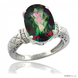 14k White Gold Diamond Mystic Topaz Ring 5.5 ct Oval 14x10 Stone