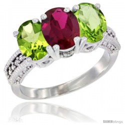 10K White Gold Natural Ruby & Peridot Sides Ring 3-Stone Oval 7x5 mm Diamond Accent