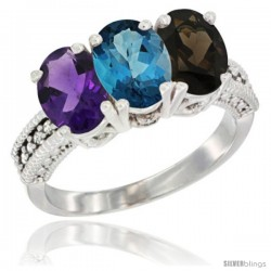 14K White Gold Natural Amethyst, London Blue Topaz & Smoky Topaz Ring 3-Stone 7x5 mm Oval Diamond Accent