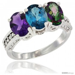 14K White Gold Natural Amethyst, London Blue Topaz & Mystic Topaz Ring 3-Stone 7x5 mm Oval Diamond Accent
