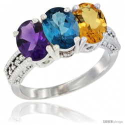 14K White Gold Natural Amethyst, London Blue Topaz & Citrine Ring 3-Stone 7x5 mm Oval Diamond Accent