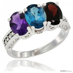 14K White Gold Natural Amethyst, London Blue Topaz & Garnet Ring 3-Stone 7x5 mm Oval Diamond Accent