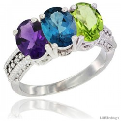 14K White Gold Natural Amethyst, London Blue Topaz & Peridot Ring 3-Stone 7x5 mm Oval Diamond Accent