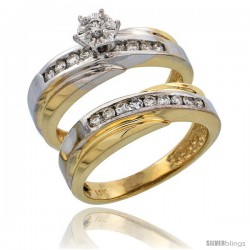 14k Gold 2-Piece Diamond Engagement Ring Set w/ Rhodium Accent, w/ 0.36 Carat Brilliant Cut Diamonds, 3/16 in. (5mm) wide