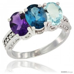 14K White Gold Natural Amethyst, London Blue Topaz & Aquamarine Ring 3-Stone 7x5 mm Oval Diamond Accent