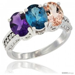 14K White Gold Natural Amethyst, London Blue Topaz & Morganite Ring 3-Stone 7x5 mm Oval Diamond Accent