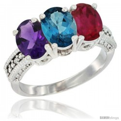 14K White Gold Natural Amethyst, London Blue Topaz & Ruby Ring 3-Stone 7x5 mm Oval Diamond Accent