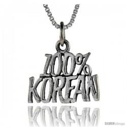 Sterling Silver 100 Percent Korean Talking Pendant, 1 in wide