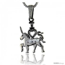 Sterling Silver Unicorn Pendant, 1 1/16 in tall