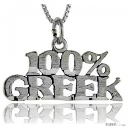 Sterling Silver 100 Percent Greek Talking Pendant, 1 in wide -Style Pa833