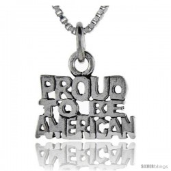 Sterling Silver Proud to be American Talking Pendant, 1 in wide