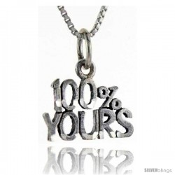 Sterling Silver 100 Percent Yours Talking Pendant, 1 in wide
