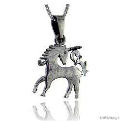 Sterling Silver Unicorn Pendant, 1 1/16 in tall -Style Pa84