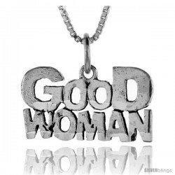 Sterling Silver Good Woman Talking Pendant, 1 in wide -Style Pa840