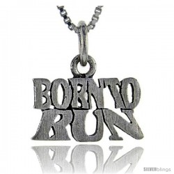 Sterling Silver Born to Run Talking Pendant, 1 in wide