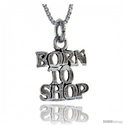 Sterling Silver Born to Shop Talking Pendant, 1 in wide