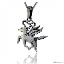 Sterling Silver Unicorn Pendant, 1 in tall -Style Pa85