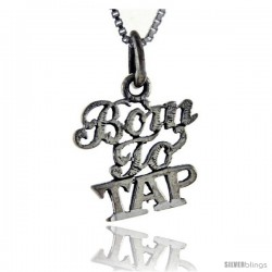 Sterling Silver Born To Tap Talking Pendant, 1 in wide
