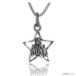 Sterling Silver Star is Born Talking Pendant, 1 in wide -Style Pa852