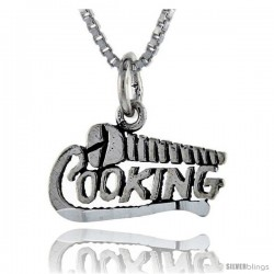 Sterling Silver Screw Cooking Talking Pendant, 1 in wide