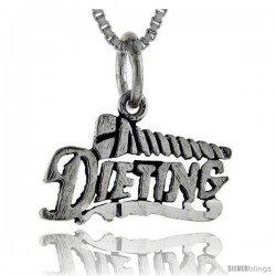 Sterling Silver Screw Dieting Talking Pendant, 1 in wide