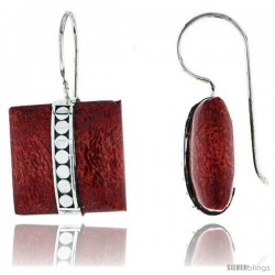"Sterling Silver Square Cushion Natural Red Coral Earrings 11/16"" (18 mm)"