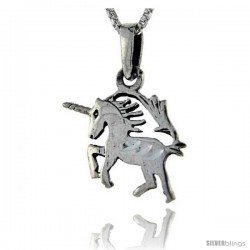 Sterling Silver Unicorn Pendant, 1 in tall -Style Pa86