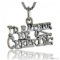Sterling Silver I'd Rather be Cheering Talking Pendant, 1 in wide