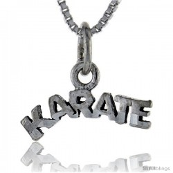 Sterling Silver Karate Talking Pendant, 1 in wide