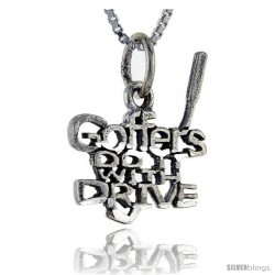 Sterling Silver Golfers do it with Drive Talking Pendant, 1 in wide