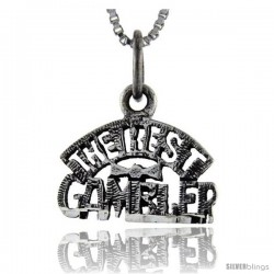 Sterling Silver The Best Gambler Talking Pendant, 1 in wide