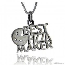 Sterling Silver The Best Pizza Maker Talking Pendant, 1 in wide