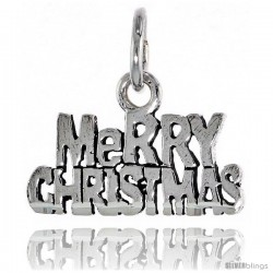 Sterling Silver Merry Christmas Talking Pendant, 1 in wide