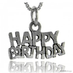 Sterling Silver Happy Birthday Talking Pendant, 1 in wide