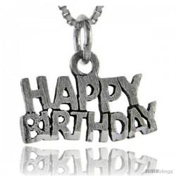 Sterling Silver Happy Birthday Talking Pendant, 1 in wide