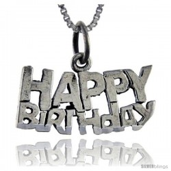 Sterling Silver Happy Birthday Talking Pendant, 1 in wide -Style Pa871