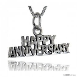 Sterling Silver Happy Anniversary Talking Pendant, 1 in wide