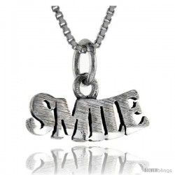 Sterling Silver Smile Talking Pendant, 1 in wide