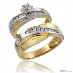14k Gold 2-Piece Diamond Ring Set w/ Rhodium Accent ( Engagement Ring & Man's Wedding Band ), w/ 0.36 Carat Brilliant Cut