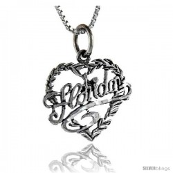 Sterling Silver Love Florida Talking Pendant, 1 in wide