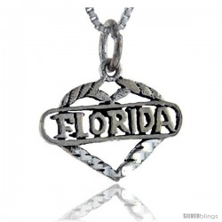 Sterling Silver Love Florida Talking Pendant, 1 in wide -Style Pa878